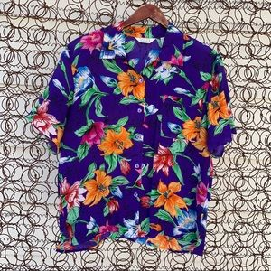 Vintage 90s Sellecca blue tropical silk blouse